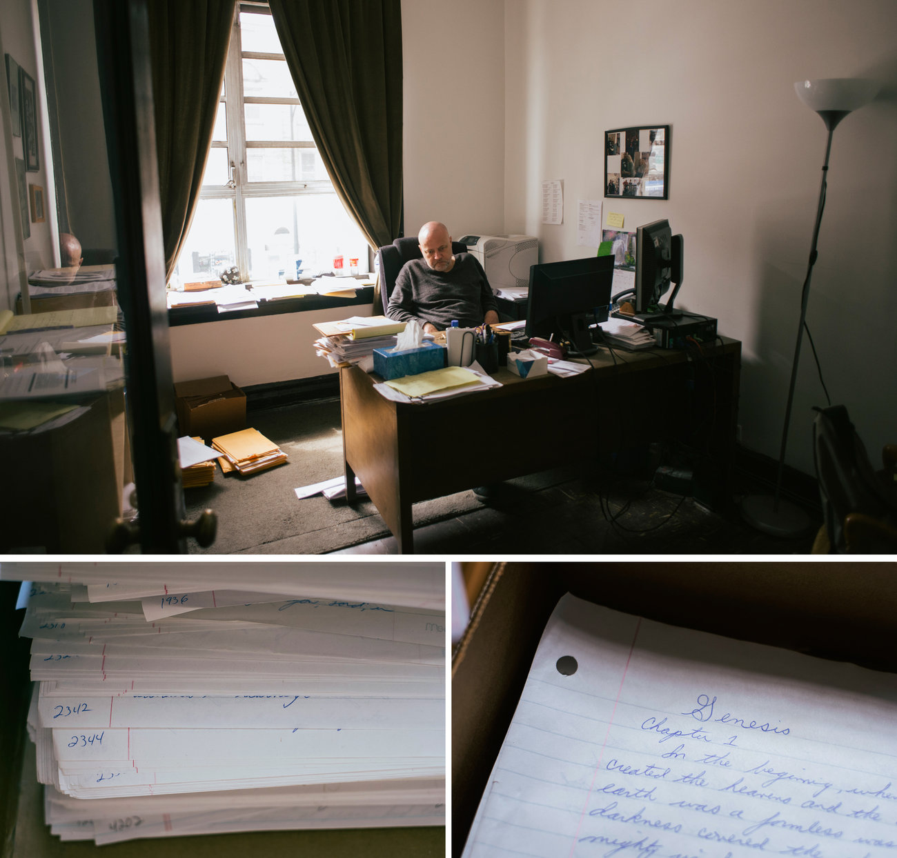 After 12 years in isolation, working in an office with other people was difficult for Brian Nelson. Now he has his own office down the street from the Uptown People's Law Center. In his office, he keeps a box with the more than 4,000 pages he hand-copied from the Bible while he was in prison. (Peter Hoffman for NPR)