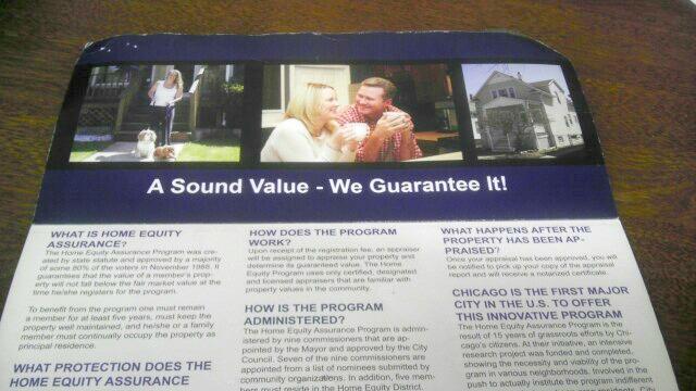 A brochure explaining the home equity program on the Northwest Side. (WBEZ/Natalie Moore)