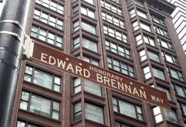 Today, Brennan's got an honorary street named after him at the intersection of State and Madison Streets, the city's 0,0 point. (WBEZ/Chris Bentley)