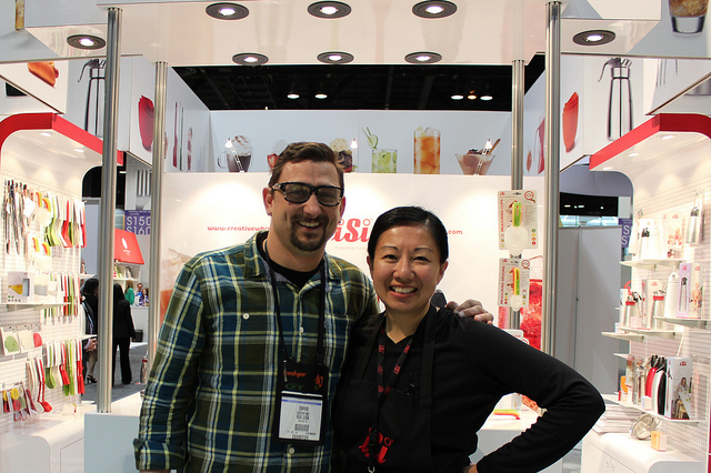 Chef Chris Cosentino and Louisa Chu at iSi booth, International Home + Housewares Show 2013 in Chicago (WBEZ/Louisa )