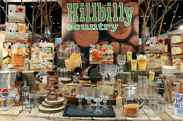 Hillbilly country trend at Libbey glass booth, International Home   Housewares Show 2013 in Chicago (WBEZ/Louisa Chu)