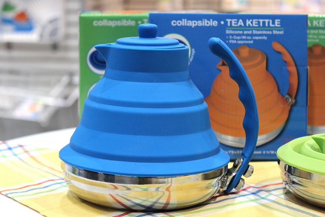 Better Housewares collapsible silicone and stainless steel tea kettle at International Home   Housewares Show 2013 in Chicago (WBEZ/Louisa Chu)