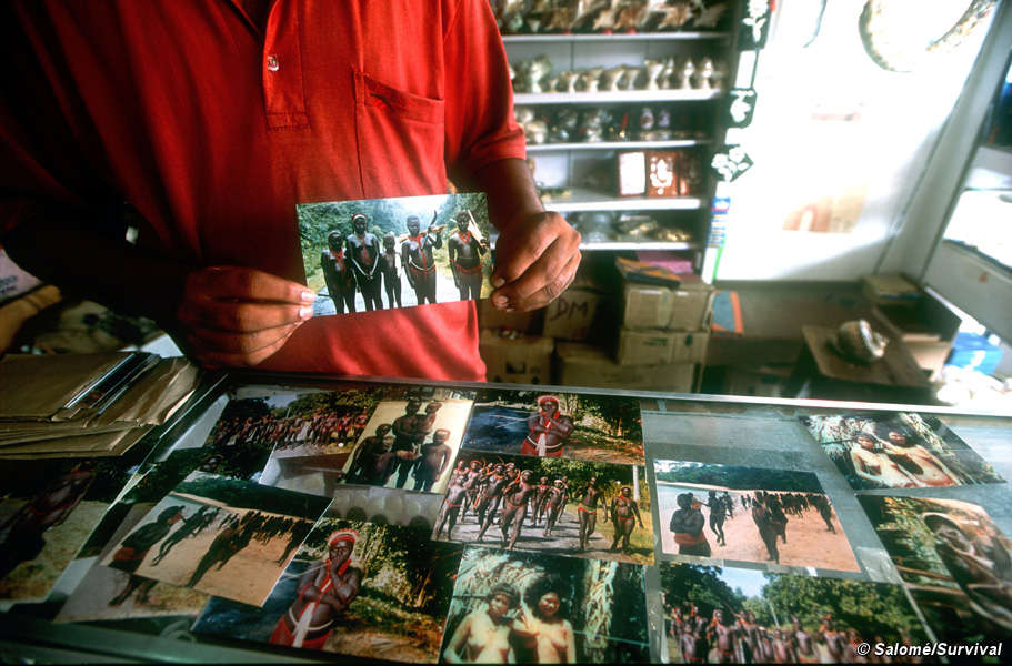 A souvenir shop on the Andaman Islands sells pictures of the Jarawa and other tribes in the islands. (Photo by Salomé/Survival)