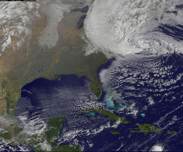 NOAA's GOES-13 satellite captured this visible image of Hurricane Sandy battering the U.S. East coast on Monday, Oct. 29 at 9:10 am EDT. (Flickr/NASA Goddard Space Flight Center)