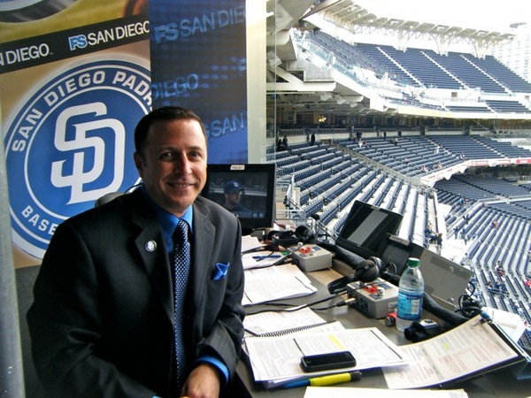 Announcer Andy Masur in the Padres broadcast booth. (Courtesy of Andy Masur)