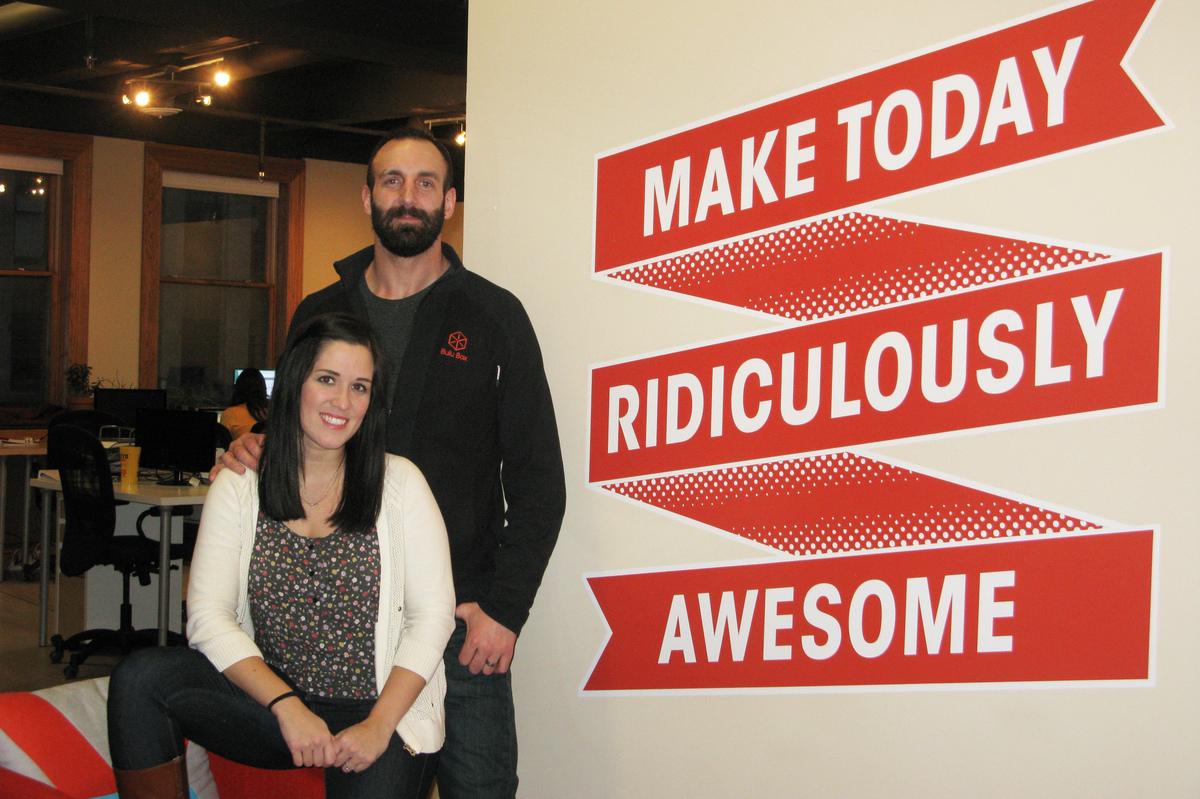 Paul and Stephanie Jarrett are co-founders of the e-commerce platform Bulu Box, in Lincoln, Neb. (David Schaper/NPR)