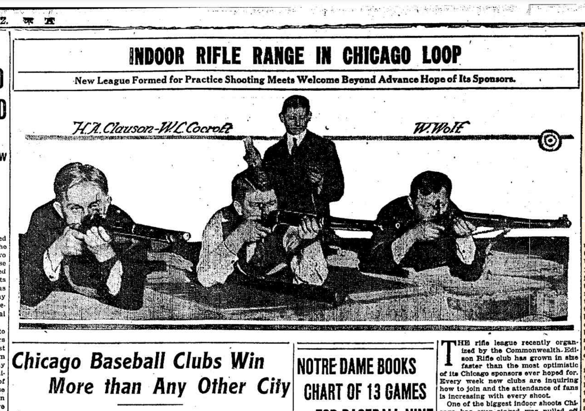 A 1918 Chicago Tribune article announces the opening of Commonwealth Edison's new shooting range. The business would go on to sponsor a city-wide rifle league where teams like The Edisons of the Chicago Gun Club, the City Hall Engineers and the Centennial R.C. Quintets would regularly play each other. (Source: Chicago Tribune archives)