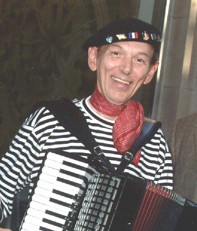 In his beret and boat-neck shirt, accordionist Jerry King is a familiar sight at events around Chicago. (Courtesy of Jerry King)