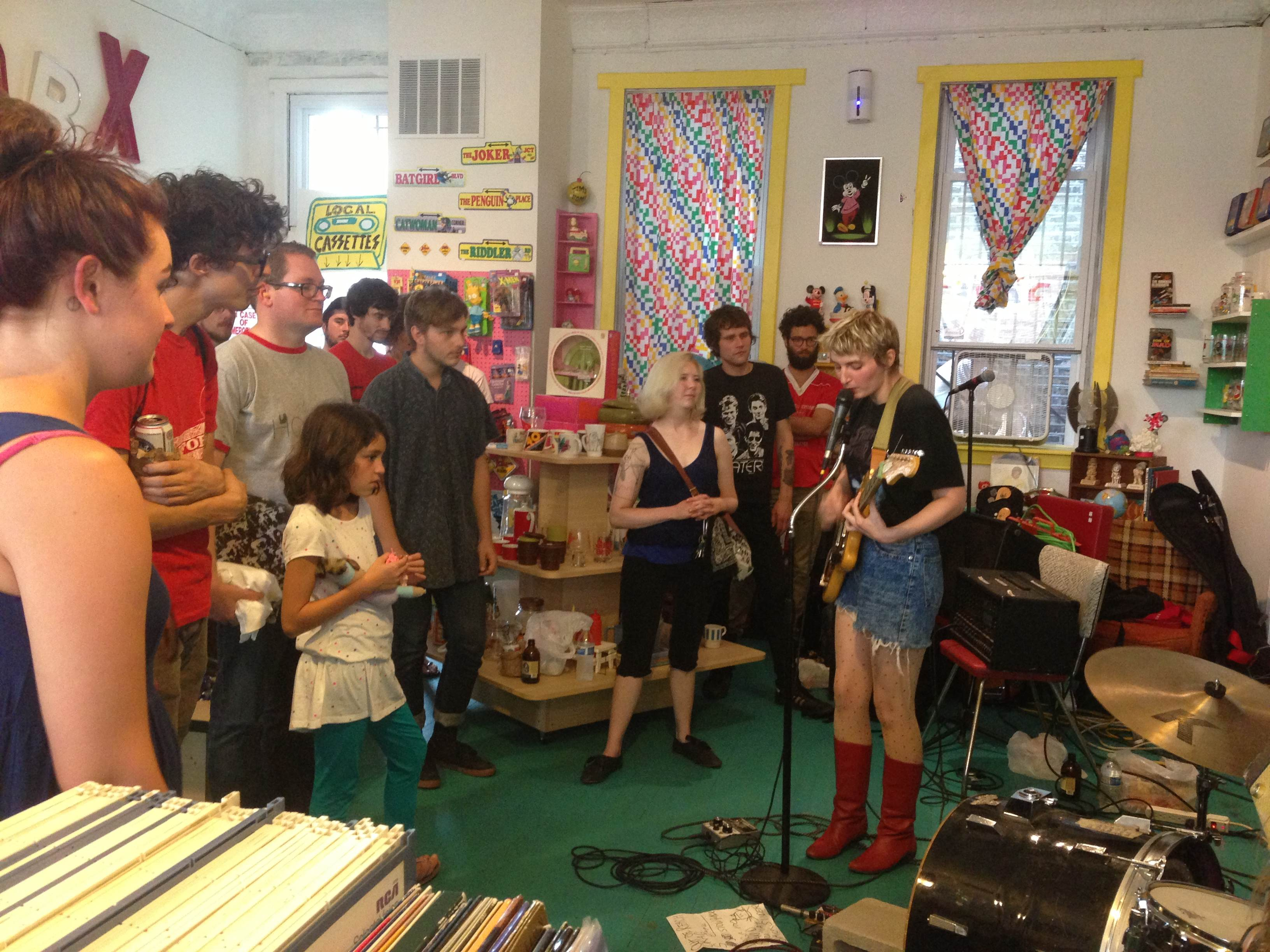 Jesse Rose Crane of The Funs plays on Cassette Store Day at Bric-A-Brac Records. (Photo courtesy of Kelly Nothing)