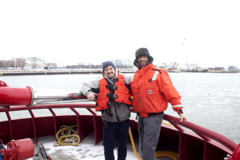 Curious City reporter John Fecile and questioner Devon Neff aboard The Wheatley icebreaking ship. (WBEZ/Jesse Dukes)