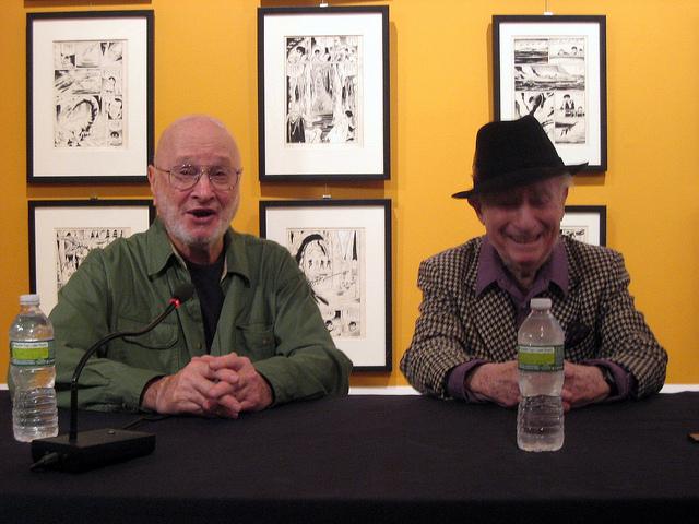 Jules Feiffer, left, with cartoonist Irwin Hasen in 2011. (Flickr/Karen Green)