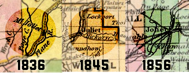 Historical maps of the Will County area show the changing name of modern-day Joliet over time. (Source: Chicago History Museum)