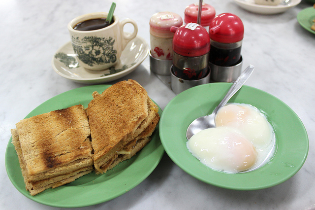Kaya toast set at original Ya Kun on China Street in Singapore (WBEZ/Louisa Chu)