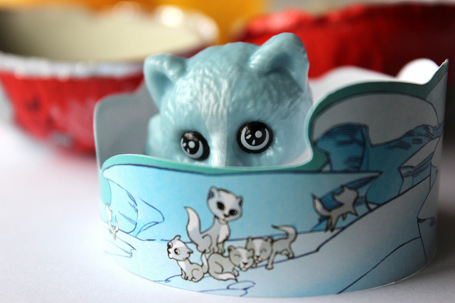 Kinder Surprise chocolate egg toy: blue arctic fox with crown (WBEZ/Louisa Chu)