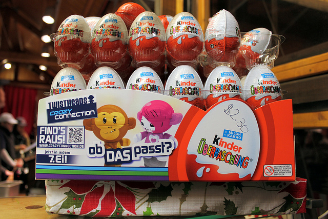 Kinder Surprise chocolate eggs display (WBEZ/Louisa Chu)