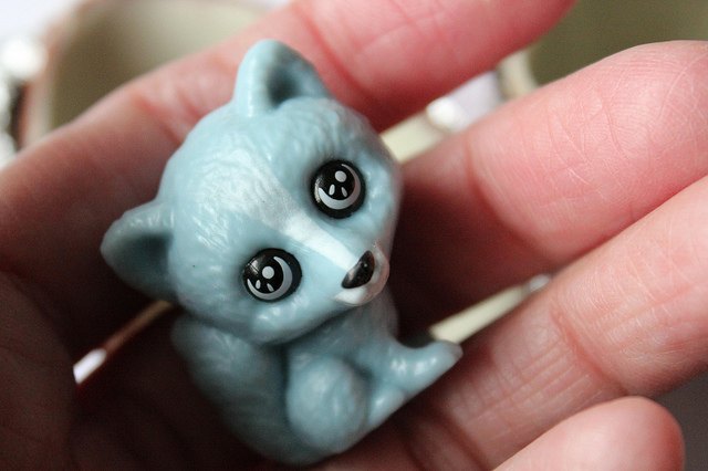 Kinder Surprise chocolate egg toy blue arctic fox (WBEZ/Louisa Chu)