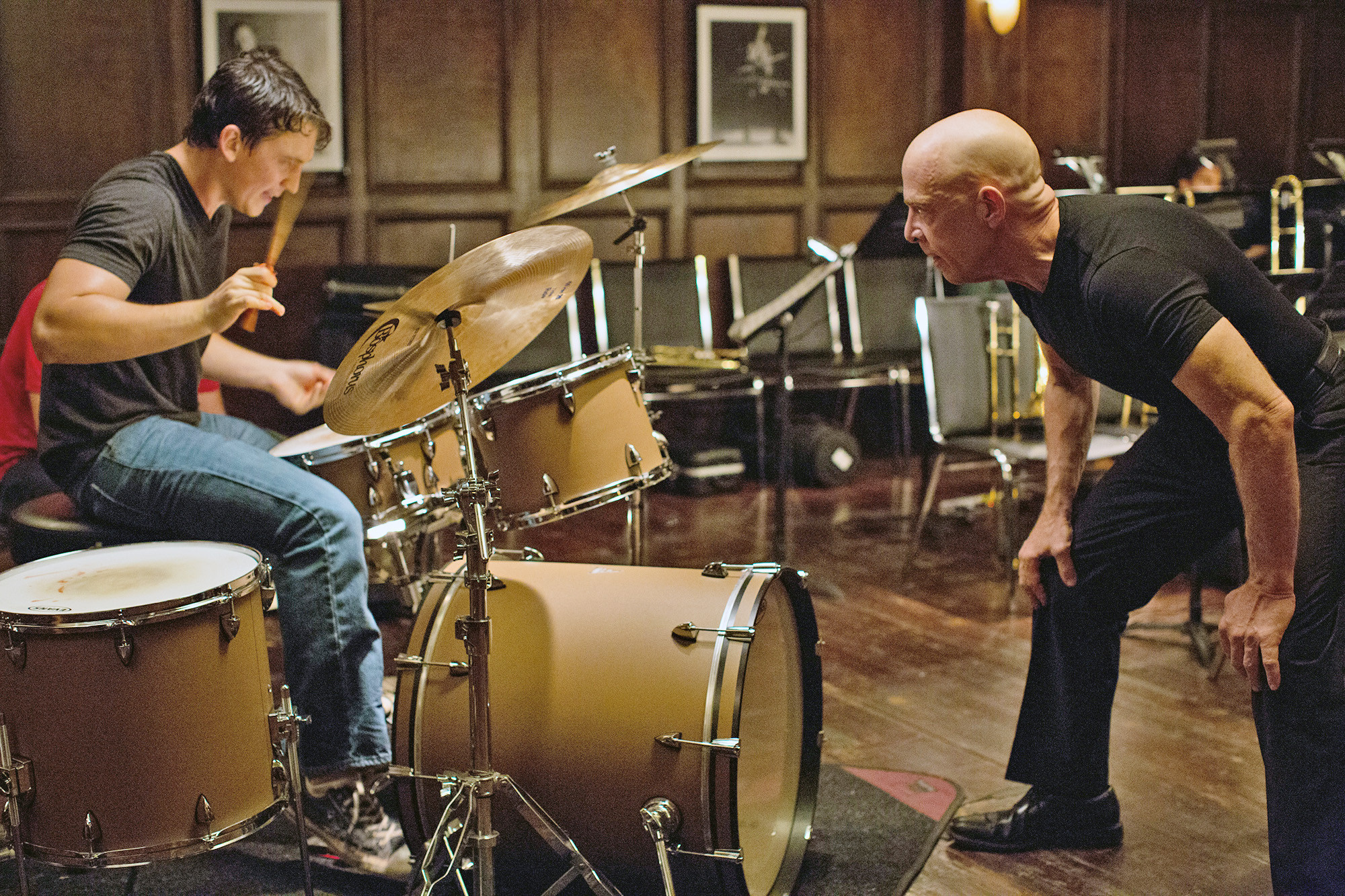 Miles Teller and J.K. Simmons in 'Whiplash.'