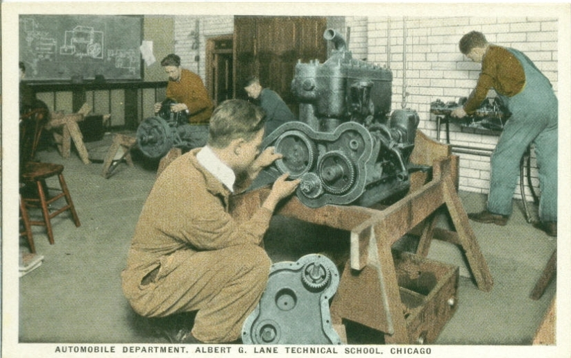 New Deal programs of the 1940s brought more vocational programs to public education, like this automobile shop class at Albert Grannis Lane Manual Training High School, now named Lane Technical College Prep High School in Chicago's North Center Neighborhood. (Courtesy Chuckman's nostalgia and memorabilia website)