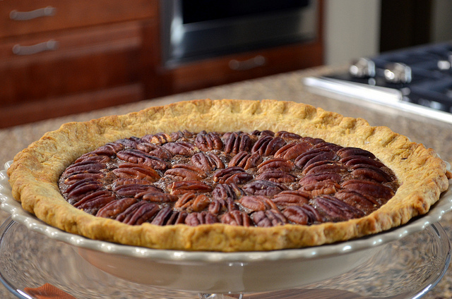 Chocolate pecan pie by celebrity pastry chef Eric Lanlard at Nielsen-Massey Vanillas in Waukegan, Ill. (WBEZ/Louisa Chu)