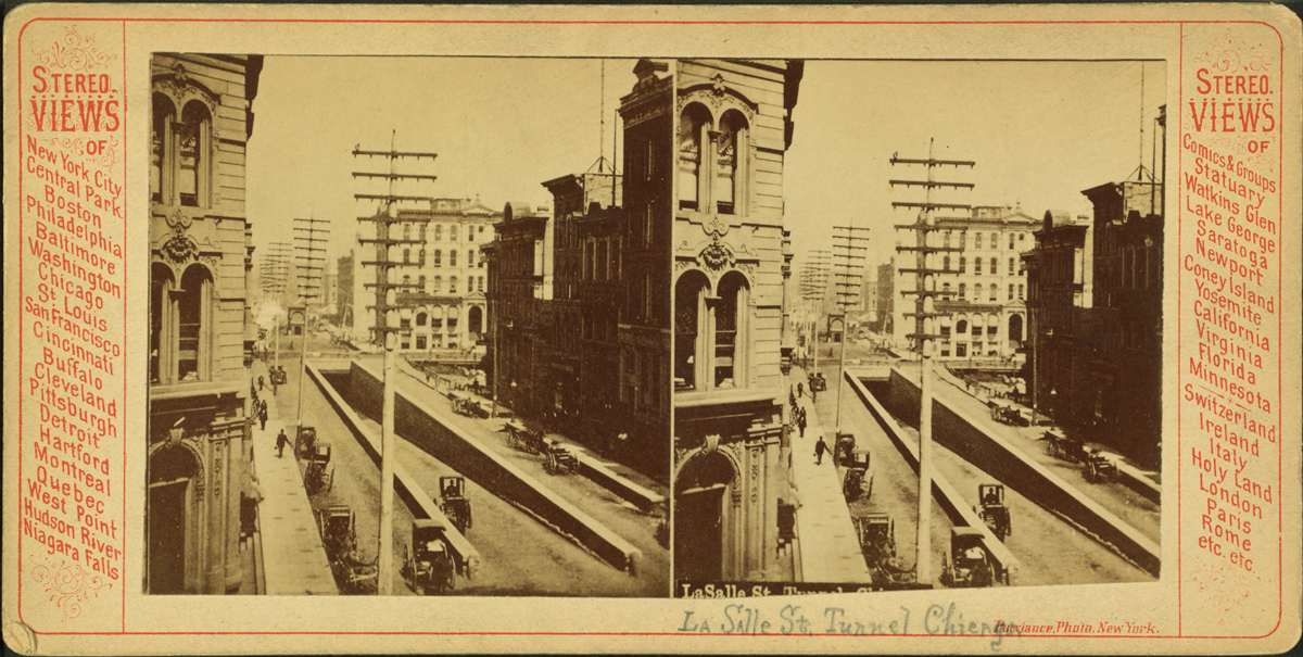 This stereoscopic photo, which dates from around the turn of the last century, shows the entrance to LaSalle Street cable car tunnel under the Chicago River. Chicago's cable car tunnels were the first in the country used for mass transit. (New York Public Library/Robert N. Dennis Collection)