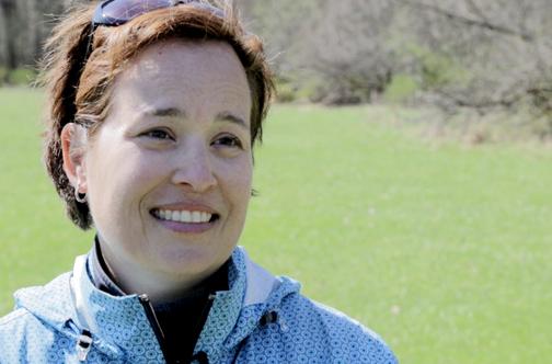 Leslie Treece, who drives by the Schiller Woods pump weekly. (WBEZ/Logan Jaffe)