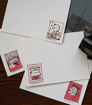 Pretty, vintage-inspired stationary from the Chicago-based company 16 Sparrows. Papergoods are sold online [www.presentandcorrect.com] or at local retailers Greer [1657 North Wells] and The Boring Store [1331 N. Milwaukee]. (16sparrows.com)