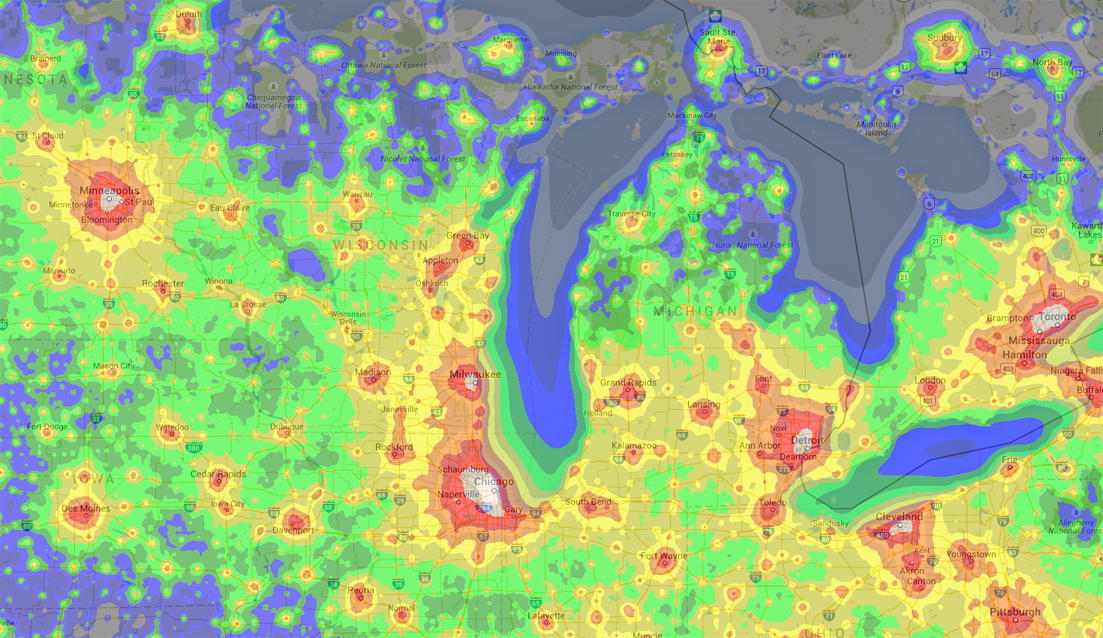 Light pollution in the Great Lakes region. Note Chicago's whitewash of light for about 50 miles. Click the map to explore in detail. (Source: P. Cinzano, F. Falchi, University of Padova. C. D. Elvidge, NOAA National Geophysical Data Center, Boulder. Copyright Royal Astronomical Society. Reproduced from the Monthly Notices of the RAS by permission of Blackwell Science.)