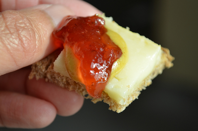 Limburger cheese with strawberry jam and mustard on brown bread at Chalet Cheese Co-op in Monroe, Wis. (WBEZ/Louisa Chu)