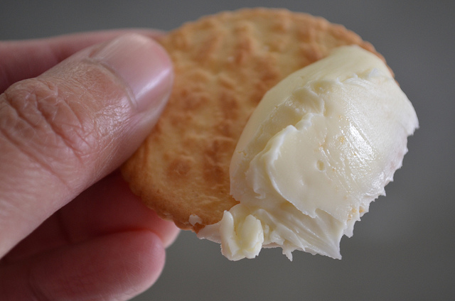 Limburger cheese spread on cracker at Chalet Cheese (WBEZ/Louisa Chu)