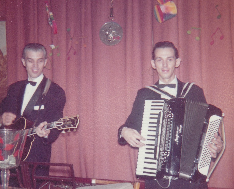 Jerry's father Norm accompanies him on guitar at the Lipstick Longue in 1961. (Courtesy of Jerry King)