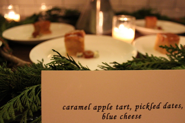 Caramel apple tart, pickled dates, blue cheese at Virtue Lapinette cider release, Lula Cafe in Chicago (WBEZ/Louisa Chu)