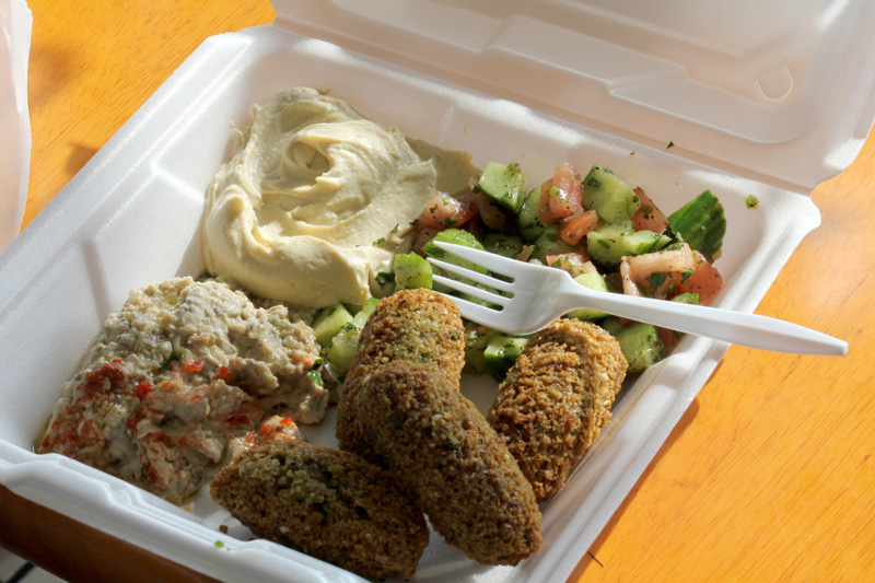 The Grape Vine in Orland Park carries a variety of middle eastern groceries -- pita bread, red lentils, butter ghee, pickled cucumbers -- as well as some pretty tasty falafel! (WBEZ/Robin Amer)