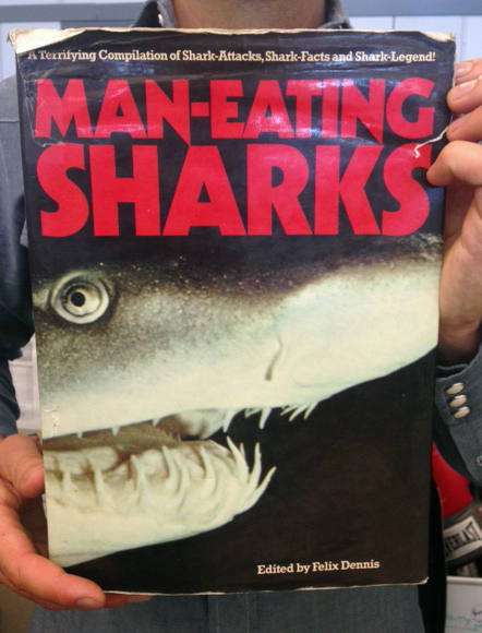 The book Man-Eating sharks, which we purchased for exactly 1 cent. (WBEZ/Logan Jaffe)