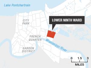 (Source: Open Street Map, data.nola.gov Credit: Alyson Hurt/NPR)