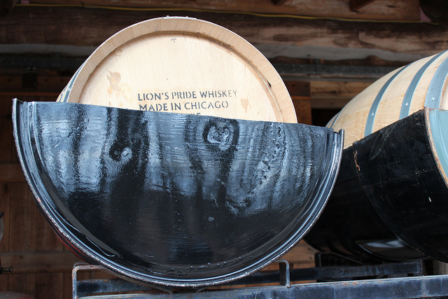 Koval Distillery Lion's Pride Whiskey barrels at Burton's Maplewood Farm in Medora, Indiana (WBEZ/Louisa Chu)