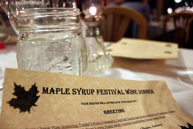 Maple Syrup Festival wine dinner menu at Story Inn in Story, Indiana (WBEZ/Louisa Chu)