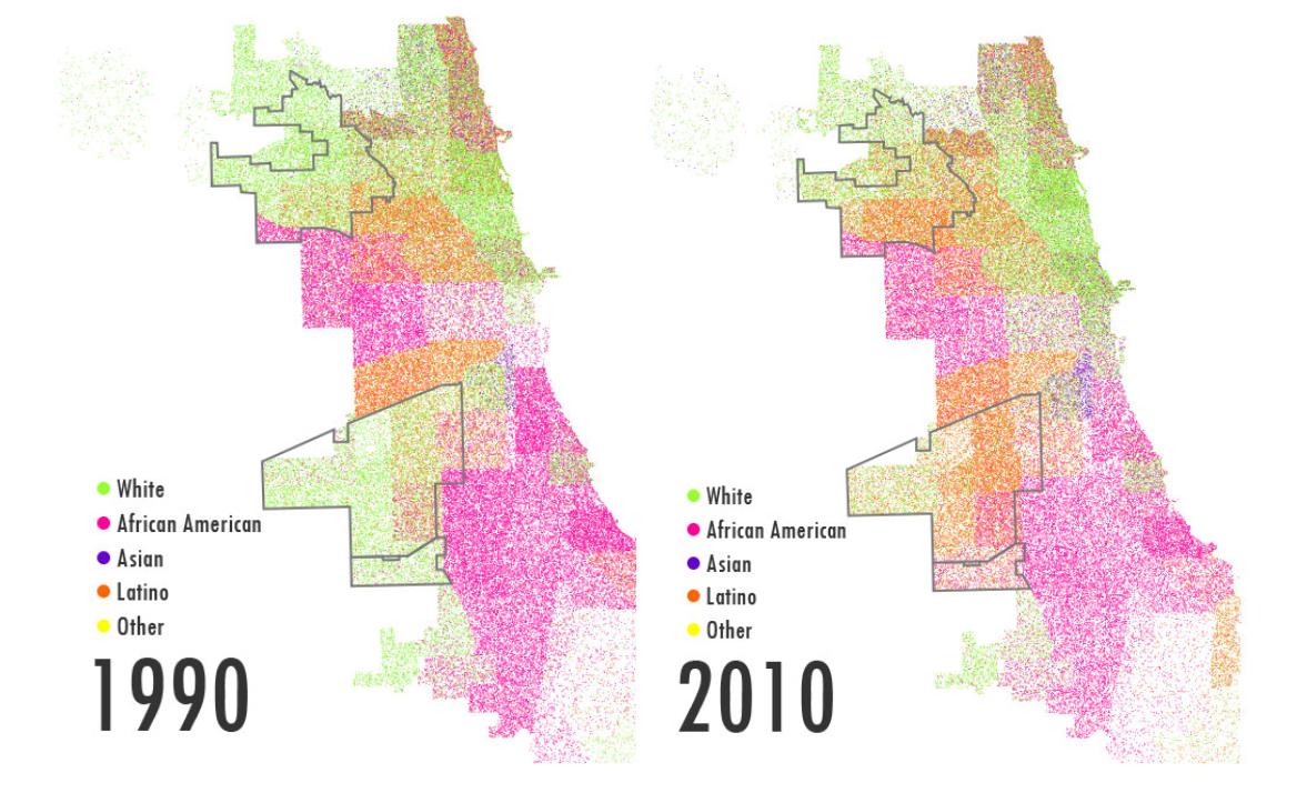 Dot density map showing census numbers. (WBEZ/Chris Hagan)