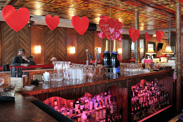 Valentine's Day decorations behind the bar at Marie's Pizza and Liquors in Chicago (WBEZ/Louisa Chu)