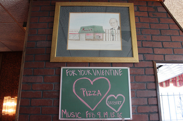 Valentine's Day specials at Marie's Pizza and Liquors in Chicago (WBEZ/Louisa Chu)