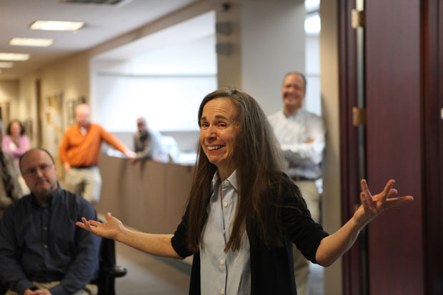 Chicago 'Tribune' columnist Mary Schmich after winning the Pulitzer Prize in April. (AP/Chicago Tribune, Nancy Stone)