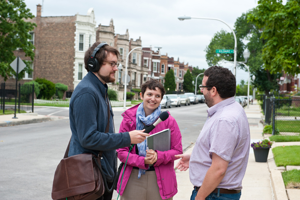 Reporter Chris Bentley, Jen Masengarb and Matt Cole with Neighborhood Housing Services of Chicago meet in K-Town to learn about Chicago's two-flats. (Photo courtesy Anne Evans)