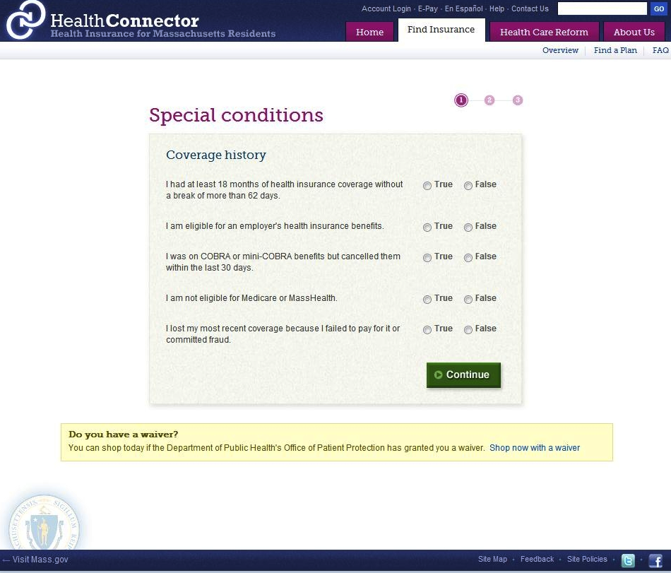 The Massachusetts Health Connector became the country's first online health exchange in 2006.