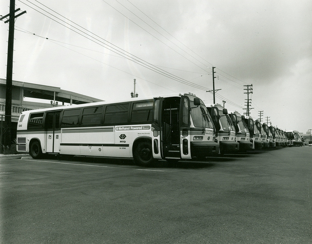 A fleet of Los Angeles buses, circa 1992, capable of burning methanol and ethanol. A substitute for gasoline, methanol can be produced from natural gas, which has recently become cheap enough to spark new interest in the alternative fuel. (Courtesy Metro Transportation Library and Archive)