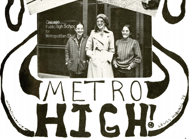 Metro High School's curriculum was built on the idea of the city being a classroom, and held classes at places like the Shedd Aquarium and Second City. (Source: Metro High School yearbook, 1978)