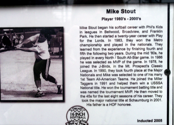 Cheryl Raye-Stout's brother in law Mike's Hall of Fame plaque. (WBEZ/Cheryl Raye-Stout)