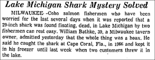 One of the two known hoaxes involving sharks in Lake Michigan. (Source: Chicago Tribune, 1969)