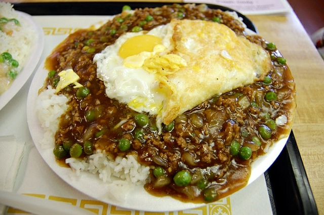 Minced beef with egg over rice at May May Gourmet Food Inc. in Chicago's Chinatown (WBEZ/Louisa Chu)