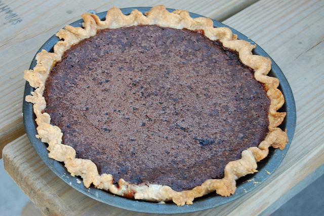 Minny's Chocolate Pie sans secret ingredient by Culinary Historians of Chicago's Catherine Lambrecht at Soup & Bread & Pie 2012 (WBEZ/Louisa Chu)