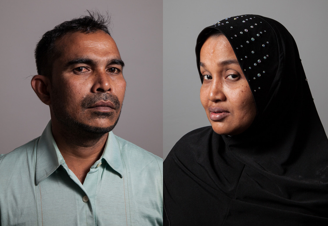 Mohamad Nur bin Abdullah and Husnarah binti Sayad Rahman arrived in Chicago with two young sons in December. (WBEZ/Shawn Allee)