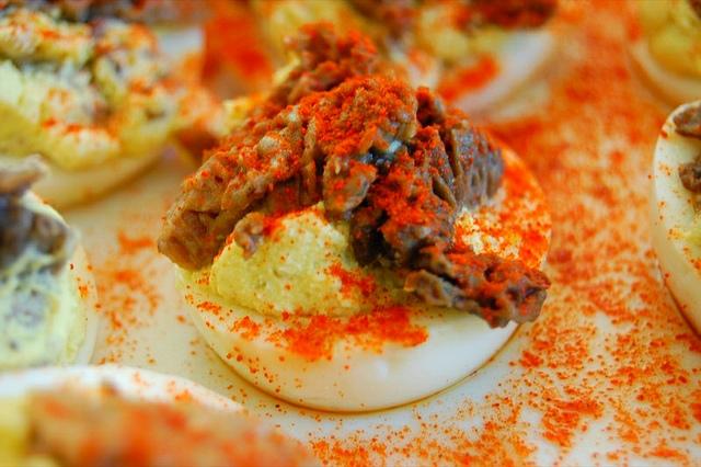 Mushroom deviled eggs at  Illinois Mycological Association foray potluck (WBEZ/Louisa Chu)